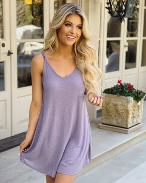 Strappy V-Neck Ribbed Dress (Lavender)
