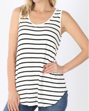 Ivory Striped Tank (S-3XL)