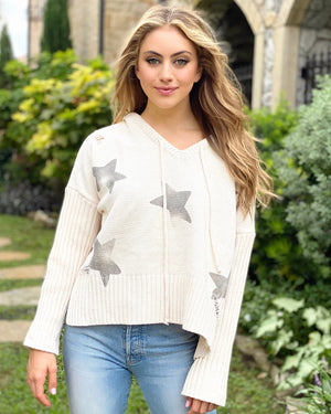 Beige Star Knit Lace-Up Sweater