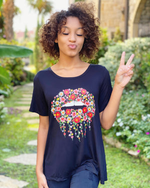 Floral Lips Black Super Soft Tee