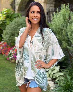 Palm Green Tie-Dye Pleated Open Kimono