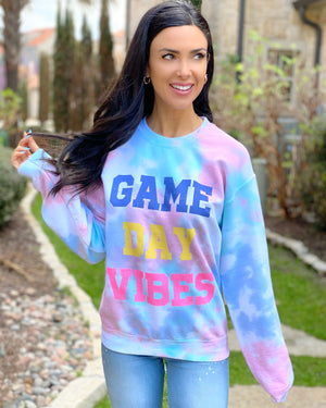 Cotton Candy Game Day Vibes Tie-Dye Sweatshirt