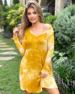 Yellow Long-Sleeve Tie-Dye Dress With Pockets