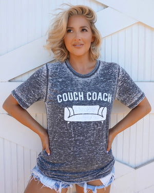 Couch Coach Gray Acid-Dipped Tee