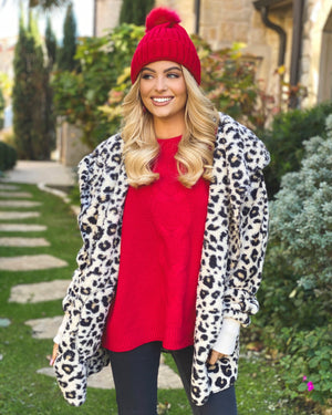 Super Cozy Animal Print Faux Fur Open Jacket
