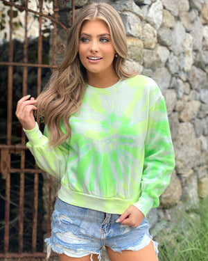 Lime Tie-Dye Cropped French Terry Sweatshirt