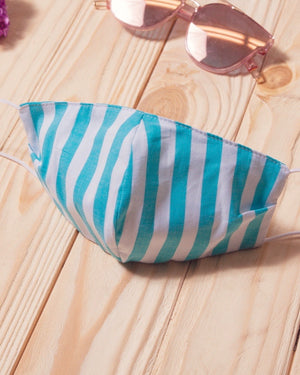 Aqua Stripe Cotton Fitted Daily Face Cover