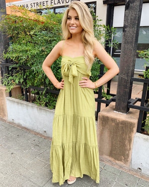 Tie-Front Maxi Dress (Vintage Lime)