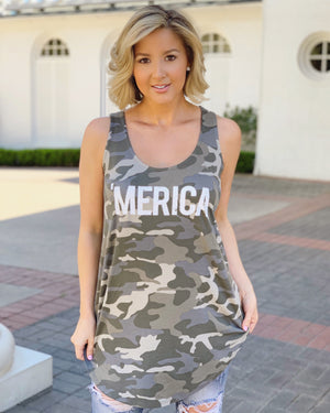 'Merica Oversized Flowy Camo Tank - Live Love Gameday®