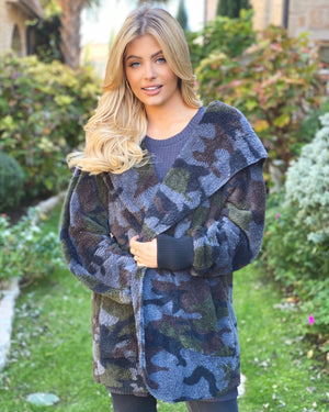 Super Cozy Camo Faux Fur Open Jacket