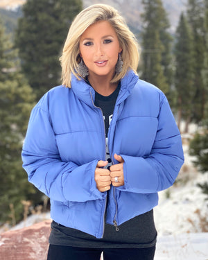 Winter Blue Super Soft Cropped Puffer Jacket