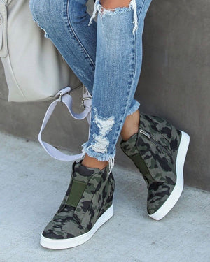 Vintage Camo High-Top Wedge Sneaker (Next Re-Stock March 2020)