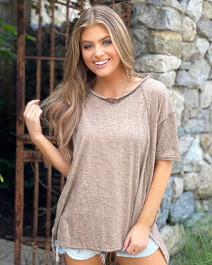 Mocha Boxy Fit Casual Top With Raw Hem