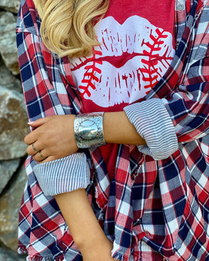 Oversized Metal Baseball/Softball Cuff Bracelet