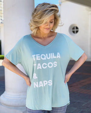 TEQUILA TACOS & NAPS Oversized Flowy V-Neck Top (Plus Sizes Now Available)