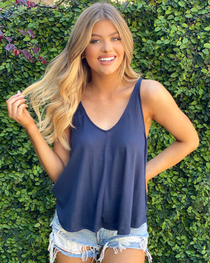 Navy 2x2 Ribbed Swing Tank