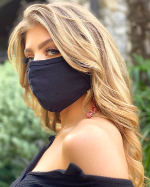100% Cotton Black Unisex Face Cover