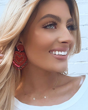 Red Beaded Fringe Heart Earrings