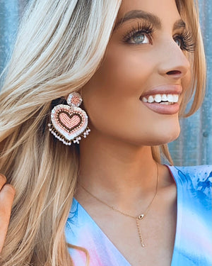 Light Pink Beaded Fringe Heart Earrings
