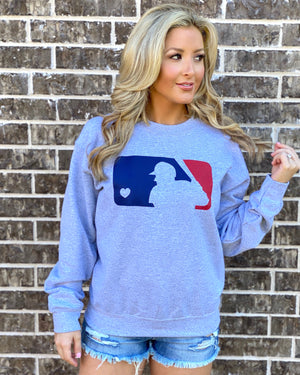 Live Love Baseball w/ Heart Comfy Sweatshirt