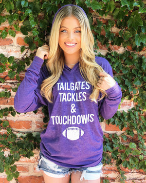 Football – Tailgates, Tackles & Touchdowns – Long-Sleeve Unisex Lightweight Hoodie