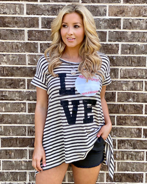 LOVE Baseball LIMITED EDITION Striped Swing Tunic
