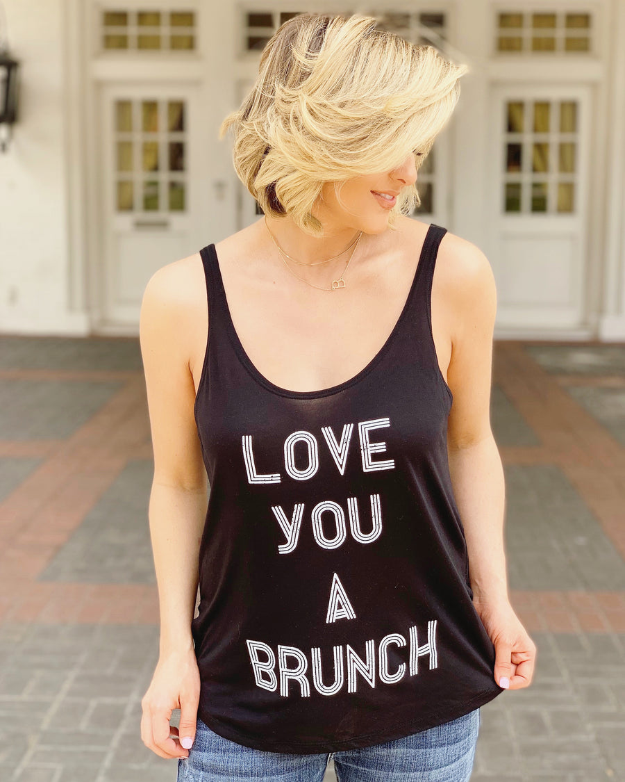 Love You A Brunch Flowy Side-Slit Tank