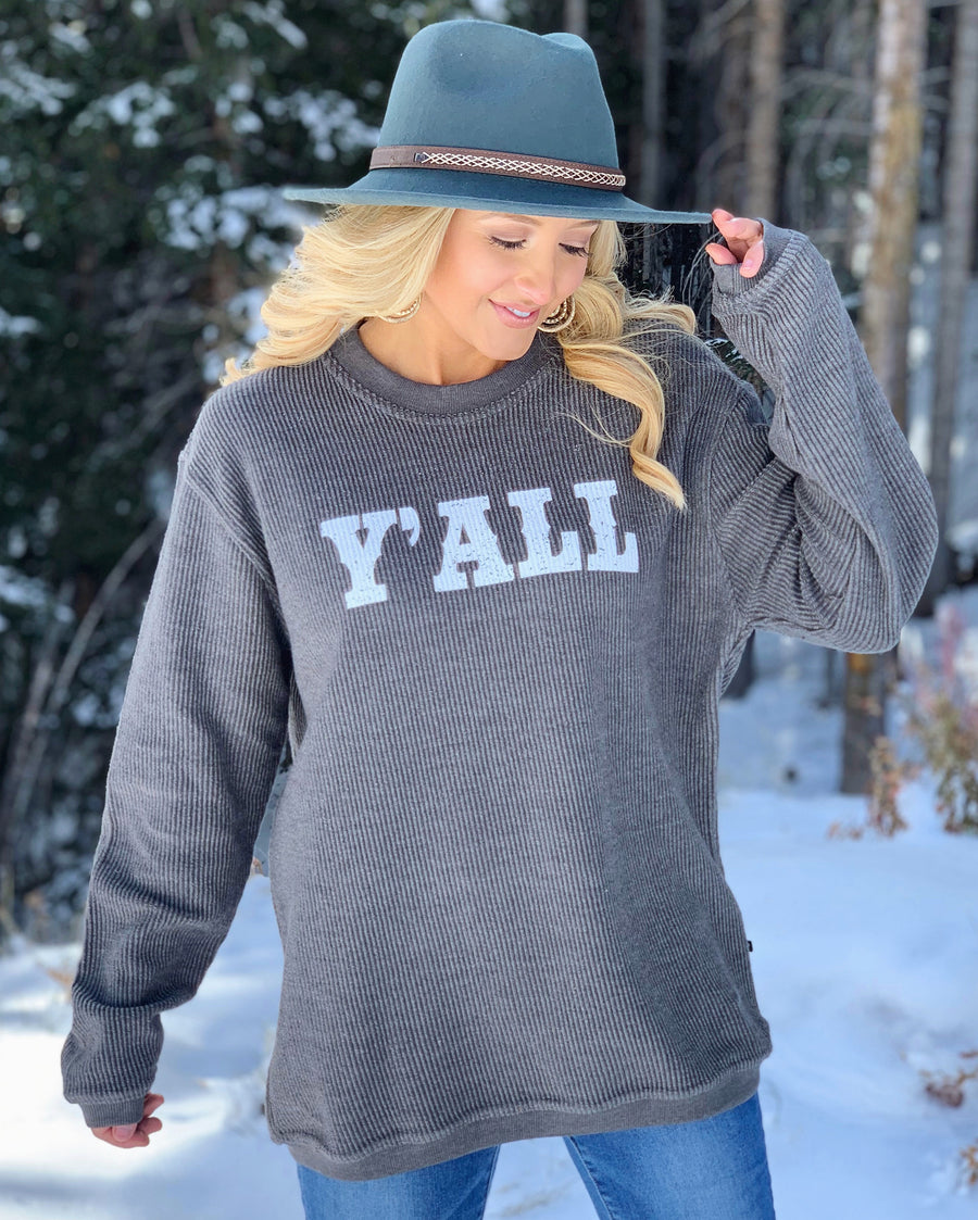 Y'all – Oversized Ribbed Vintage-Washed Crew