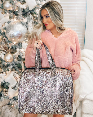 Large Metallic Shine Leopard Bag