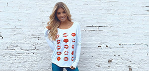 Red Lips Super Soft Flowy Long-Sleeve