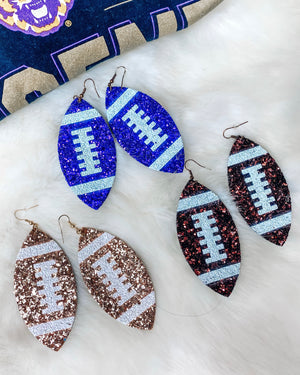 Red Glitter Football Earrings