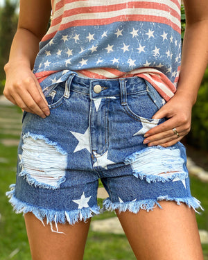 Star Print Distressed Cut-Off Shorts