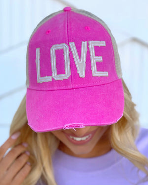 "Bright Pink ""LOVE"" Trucker Cap"