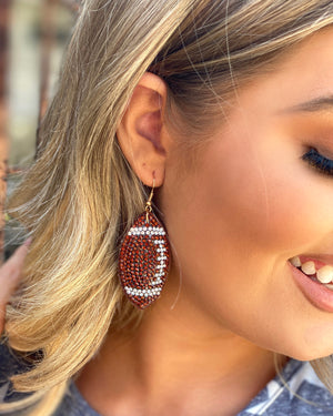 Baseball Suede Crystal Game Day Earrings