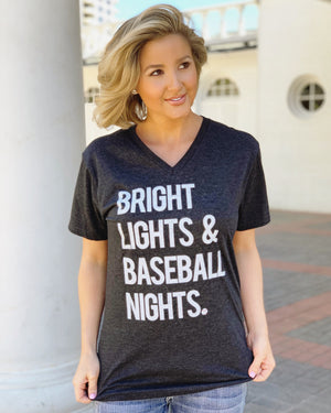 Bright Lights & Baseball Nights Vintage Black V-Neck Tee - Live Love Gameday®
