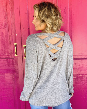 She Believed She Could, But She Was Really Tired, So She Didn't. Oversized Criss-Cross Back Sweater