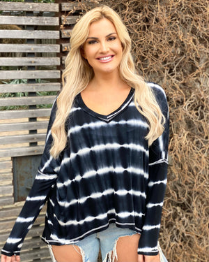 Black Tie-Dye Softest Ever Long-Sleeve Top