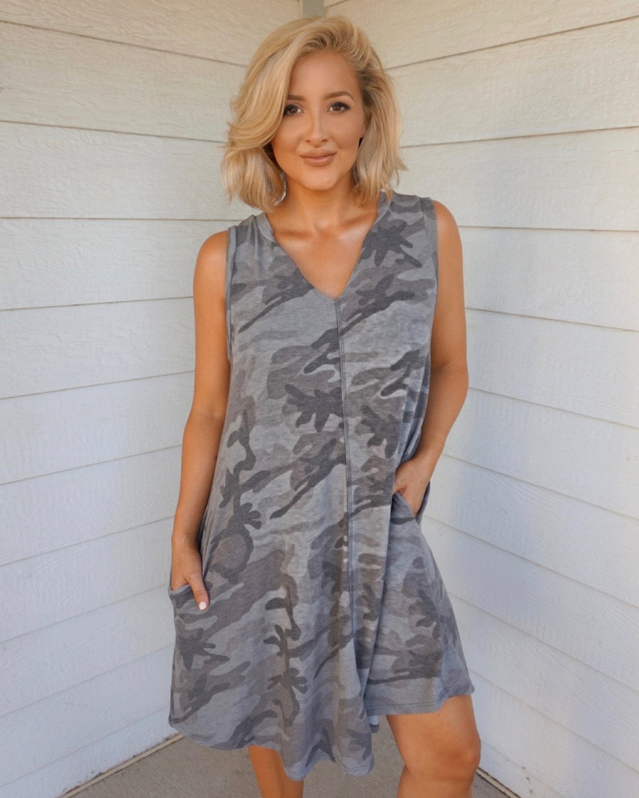 Gray-Toned Camo Tank Dress