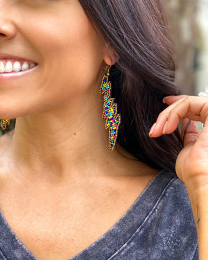 Multi-Color/Gold Lightening Bolt Beaded Earrings