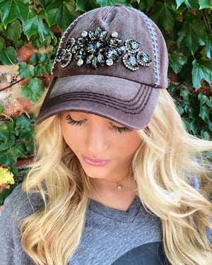 Football Cap – Gunmetal Crystals - Live Love Gameday®