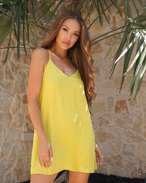 Lime Jacquard Racerback Flowy Tunic Dress