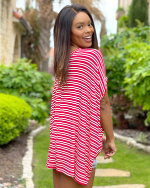 Red Silky Soft Oversized Striped Top