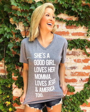 Loves Jesus & America Too Gray Tee
