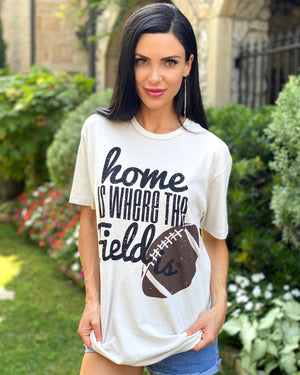 Home Is Where The Field Is (Football) Vintage Beige Suede Tee