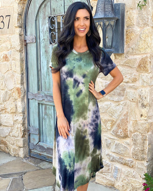 Olive Short-Sleeve Tie-Dye Dress
