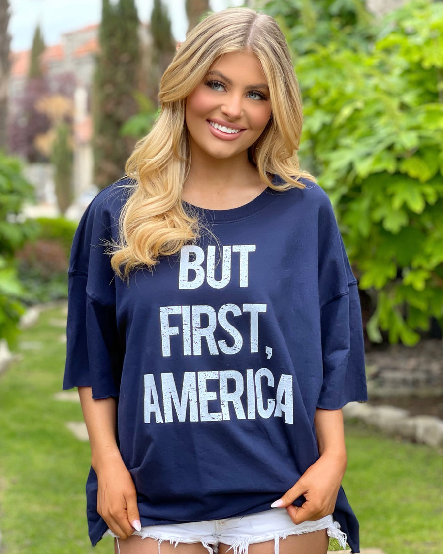 Navy But First America Super Oversized Tee