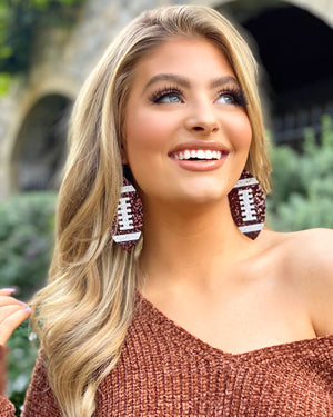 Brown Glitter Football Earrings