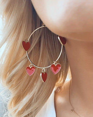 Gold & Red Circle Heart Earrings
