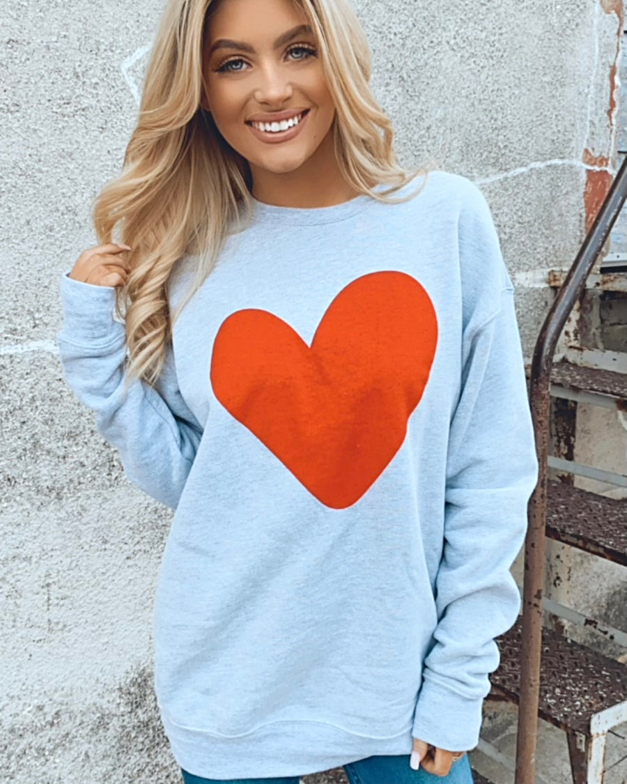 Red Heart On Gray Super Soft & Comfy Sweatshirt