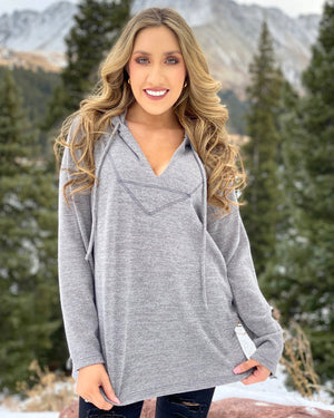 Gray Soft-Brushed Jersey Hoodie Top